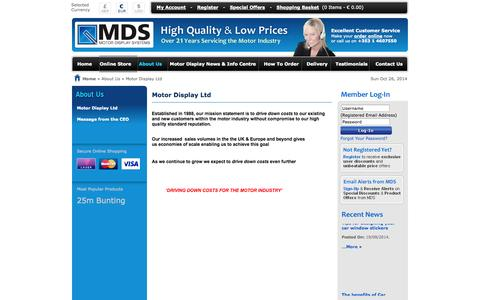 Screenshot of About Page motordisplay.com - Car display products, Key tags, car window stickers, Tax disc holders – Motordisplay.com - captured Oct. 26, 2014