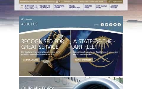 Screenshot of About Page saudiairlines.com - About Us - captured Nov. 17, 2016