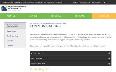 Screenshot of Contact Page istafrica.com - Communications and Contact Guide - International School of Tanganyika - captured Oct. 12, 2018