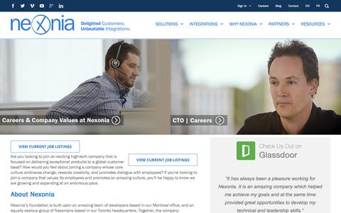 Screenshot of Jobs Page nexonia.com - Career With Nexonia | Toronto, Montreal & Philadelphia - captured Nov. 17, 2016
