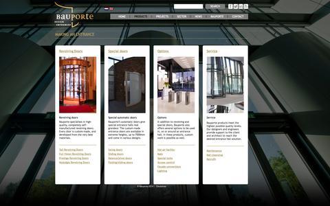 Screenshot of Products Page bauporte.com - Revolving doors swing doors large automatic doors maintenance   Bauporte Doors - captured Oct. 5, 2014