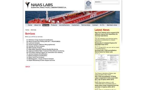 Screenshot of Services Page naiaslabs.com - Services - captured Oct. 7, 2014