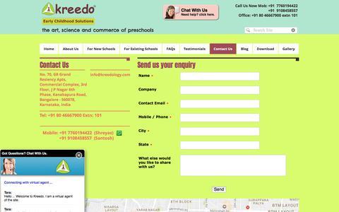 Screenshot of Contact Page kreedology.com - Kreedo Early Childhood Solutions| Early Years Preschool Solution| - captured June 9, 2017