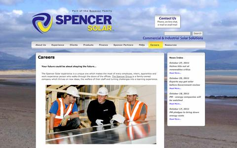Screenshot of Jobs Page spencersolar.co.uk - Careers   Spencer Solar  - Commercial and Industrial Solar Solutions Nationwide - captured Oct. 9, 2014