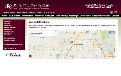Screenshot of Maps & Directions Page rustichills.com - Country Club - Medina, Ohio - captured Aug. 12, 2015