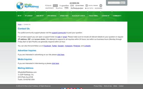 Screenshot of Contact Page whatismyipaddress.com - How to contact us - captured Sept. 21, 2018