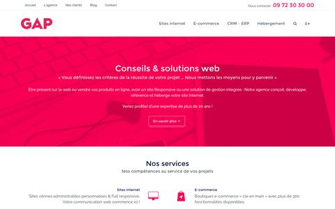 Screenshot of Home Page agence-gap.fr - Agence GAP - Création de site Internet professionnel - captured July 24, 2016