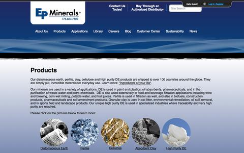 Screenshot of Products Page epminerals.com - Products | EP Minerals - captured July 17, 2015