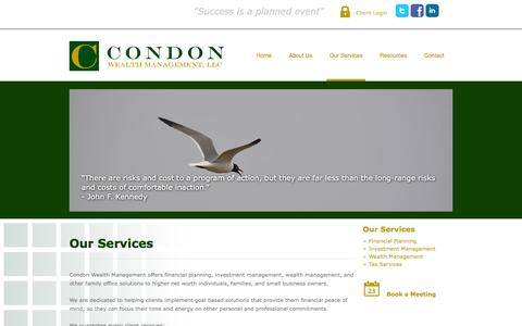 Screenshot of Products Page condonwealth.com - Our Services | Condon Wealth Management - captured Nov. 2, 2014