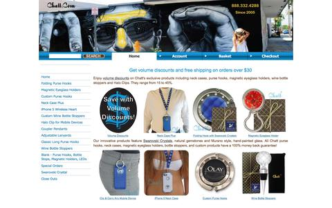 Screenshot of Home Page chatt.com - Purse Hook, Hanger, Magnetic Eyeglass Holder, Wine Bottle Stopper, Halo Clip - captured Jan. 27, 2016