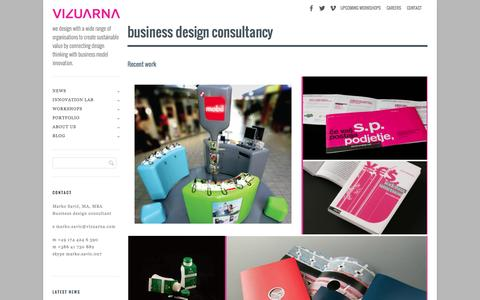Screenshot of Home Page vizuarna.com - Vizuarna | we design with a wide range of organisations to create sustainable value by connecting design thinking with business model innovation. - captured Sept. 30, 2014