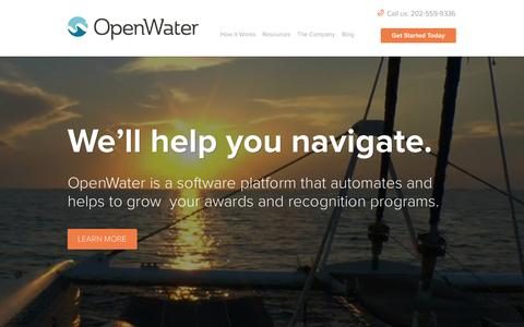 Screenshot of Home Page getopenwater.com - OpenWater - Awards Software, Contests, Abstracts and Conferences - captured Sept. 19, 2014