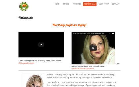 Screenshot of Testimonials Page juliecoburn.com - Testimonials | Julie Coburn Studios - captured Oct. 29, 2014