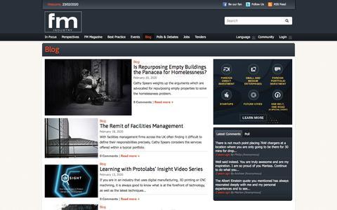 Screenshot of Blog fmindustry.com - Blog   FM Industry   The Facilities Management Hub - captured Feb. 23, 2020