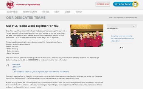 Screenshot of Team Page picsinv.com - Our Dedicated Teams - PICS – Phyle Inventory Control SpecialistsPICS – Phyle Inventory Control Specialists - captured Sept. 26, 2018