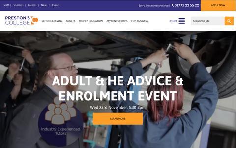 Screenshot of Home Page preston.ac.uk - Preston's College - captured Nov. 12, 2016