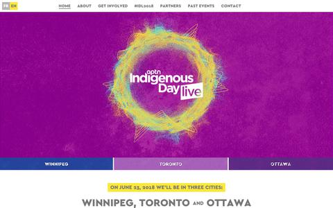 Screenshot of Home Page indigenousdaylive.ca - Indigenous Day Live            2018 - captured Oct. 25, 2018