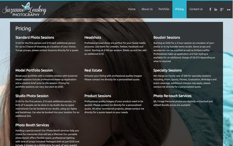 Screenshot of Pricing Page suzanneleakey.com - Pricing-Exclude(Notice) | Suzanne Leakey Photography - captured Oct. 7, 2014