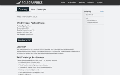 Screenshot of Developers Page solegraphics.com - Website Developer Job Position Summary - captured Sept. 21, 2018