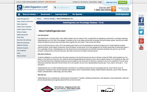 Screenshot of About Page cableorganizer.com - CableOrganizer.com FAQs - How Our Company Got Started - captured Sept. 13, 2014