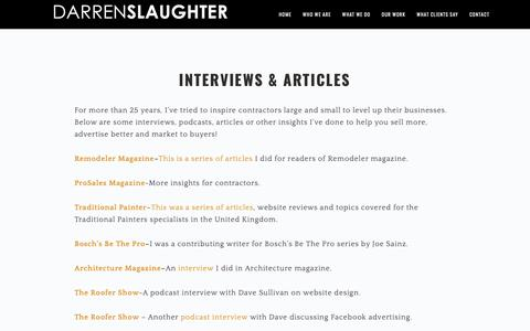 Screenshot of Press Page darrenslaughter.com - Interviews & Articles - Construction Websites | Contractor Websites - captured Dec. 21, 2018
