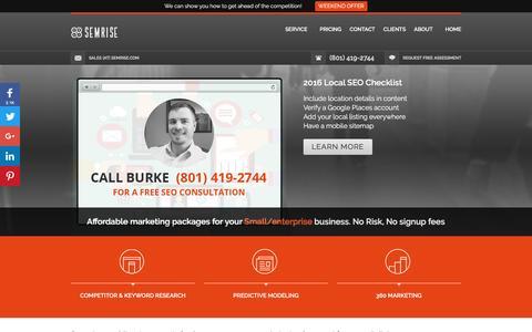Screenshot of Home Page semrise.com - Digital Marketing | Inbound Marketing | Social Media Marketing - captured July 20, 2016