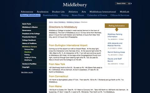Screenshot of Maps & Directions Page middlebury.edu - Directions | Middlebury - captured Oct. 27, 2014