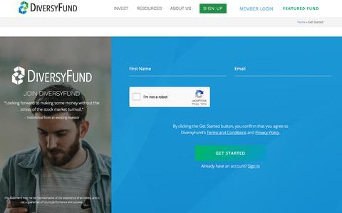 Screenshot of Signup Page diversyfund.com - Get Started - captured July 8, 2018