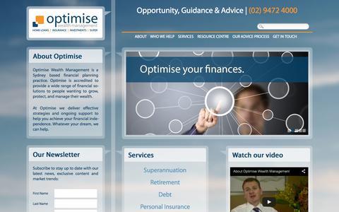 Screenshot of Home Page owm.com.au - Home | Optimise Wealth Management - captured Oct. 6, 2014