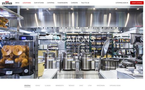 Screenshot of Locations Page cafezupas.com - Cafe Zupas | Locations - captured Oct. 5, 2018