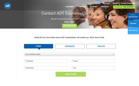Screenshot of Contact Page adt.com - ADT Contact Us - captured July 23, 2016