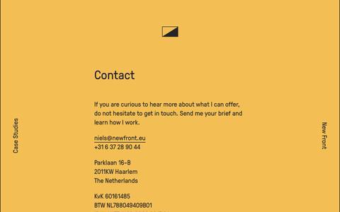 Screenshot of Contact Page newfront.eu - New Front | Freelance Frontend Development - captured Sept. 30, 2014