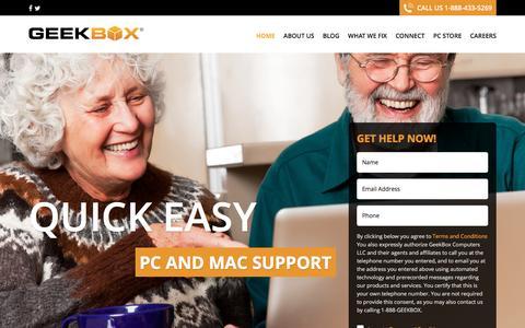 Screenshot of Home Page geekbox.com - - GeekBox - captured Oct. 31, 2016