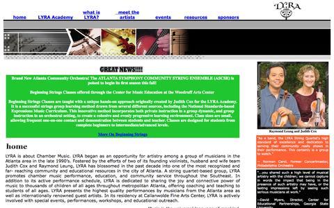 Screenshot of Home Page lyra-atlanta.org - LYRA String Quartet - Home - captured Oct. 1, 2014