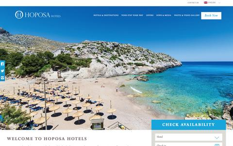 Screenshot of Home Page hoposa.es - Hotels & Resorts - Mallorca, Spain | Hoposa Hotels - captured Nov. 12, 2015