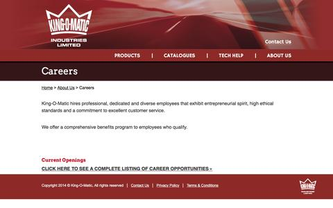 Screenshot of Jobs Page kingomatic.com - Careers - King-O-Matic - captured Nov. 27, 2016