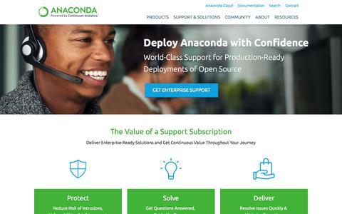 Screenshot of Support Page continuum.io - Anaconda Support | Continuum - captured June 24, 2017