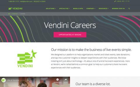 Screenshot of Jobs Page vendini.com - Careers: Live Event Ticketing Software - captured July 22, 2019