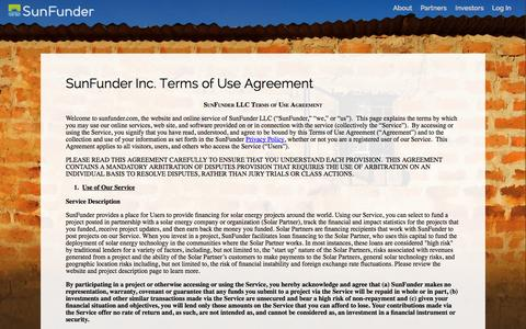 Screenshot of Terms Page sunfunder.com - SunFunder Terms of Use - captured Sept. 17, 2014