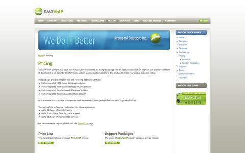 Screenshot of Pricing Page avavoip.com - Pricing - captured Oct. 4, 2014