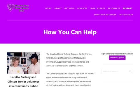Screenshot of Support Page mdcrimevictims.org - How You Can Help - Maryland Crime Victims Resource Center - captured Oct. 1, 2018