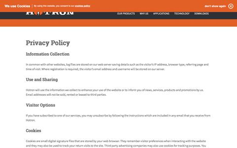 Screenshot of Privacy Page hotron.com - Privacy Policy | Hotron - Automatic Door Sensors - captured May 22, 2017