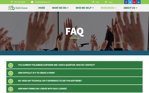 Screenshot of FAQ Page field2base.com - FAQ - Field2Base - captured Aug. 13, 2018
