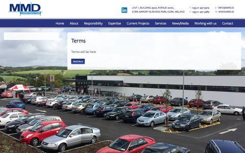 Screenshot of Terms Page mmd.ie - MMD Construction Cork | MMD Construction Cork - Building Contractors Cork - Ireland Builders  | Terms - captured Sept. 24, 2018