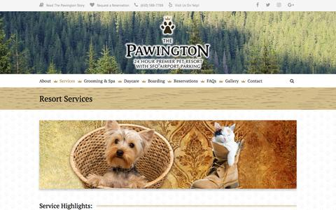 Screenshot of Services Page thepawington.com - Resort Services | The Pawington - captured Sept. 21, 2018