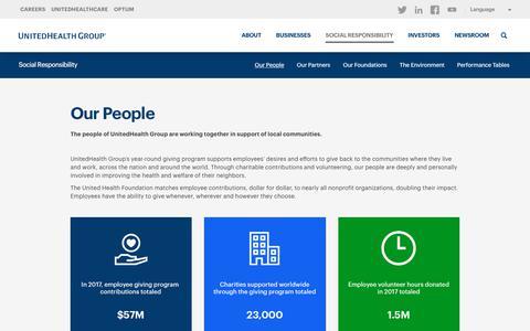 Screenshot of Team Page unitedhealthgroup.com - Employee Volunteering & Giving - UnitedHealth Group - captured Sept. 19, 2018