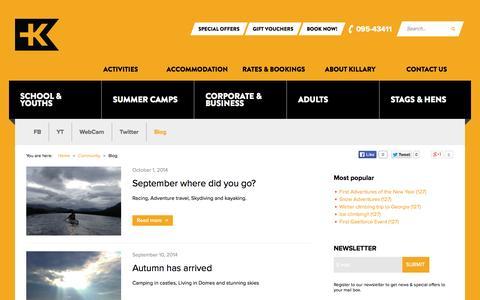 Screenshot of Blog killaryadventure.com - Blog - captured Oct. 6, 2014