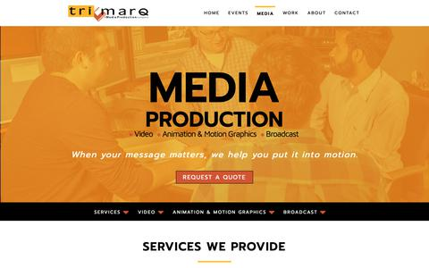 Screenshot of Press Page trimarq.com - Media Production | Tri-Marq Video, 2D & 3D Animation, Motion Graphics Tri-Marq: Media and Live Event Production | Milwaukee, Chicago - captured Oct. 20, 2018
