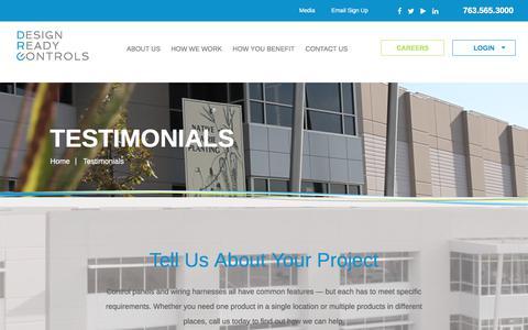 Screenshot of Testimonials Page designreadycontrols.com - Testimonials | Design Ready Controls - captured June 4, 2017