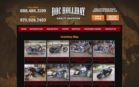 Screenshot of Site Map Page dochollidayharley.com - Inventorymap | Doc Holliday Harley-Davidson® | Glenwood Springs Colorado - captured Oct. 4, 2014